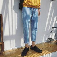 2018秋冬季新款韩版牛仔裤男修身潮流纯长裤青少年保暖小脚裤显瘦