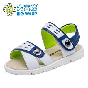 大黄蜂童鞋 2017夏季男款儿童皮凉鞋 儿童沙滩鞋男中大童鞋