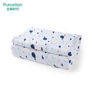 全棉时代 秋冬蓝狗兔幼儿园床用纱布夹纯棉被子120x150cm,1件/袋