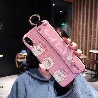 可爱超萌粉小猪苹果x手机壳女6/6s/8/xr/xs max腕带支架一体iphone7plus防摔i