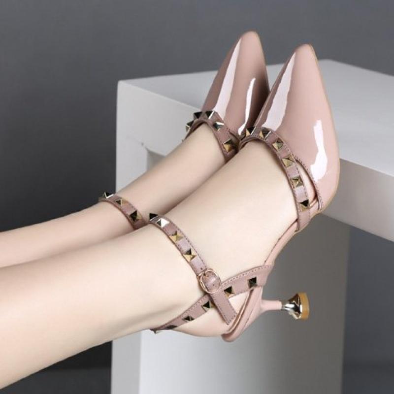 单鞋夏尖头高跟鞋女一字扣女鞋细跟小跟鞋包头鞋子猫跟鞋凉鞋