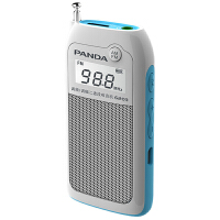 熊猫迷你小收音机充电袖珍插卡fm调频广播半导体老人随身听6203便携老年人MP3播放机小型音响戏曲评书播放器 白色