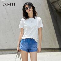 Amii[极简主义] 2017夏装新直筒圆领印花纯色棉质短袖T恤11731915