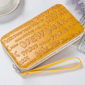 Yinbeler零钱包女式钱包皮夹iphone6sp5.5寸手机包大容量拉链小手包-字母款