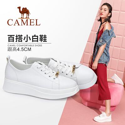 camel/骆驼女鞋2018早春新款小白鞋女平底系带厚底学生板鞋圆头浅口单鞋
