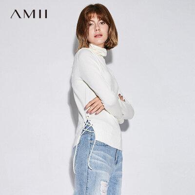 【大牌清仓 5折起】Amii[极简主义]2017秋装新款直筒纯色堆堆领绑带休闲毛衣11744086