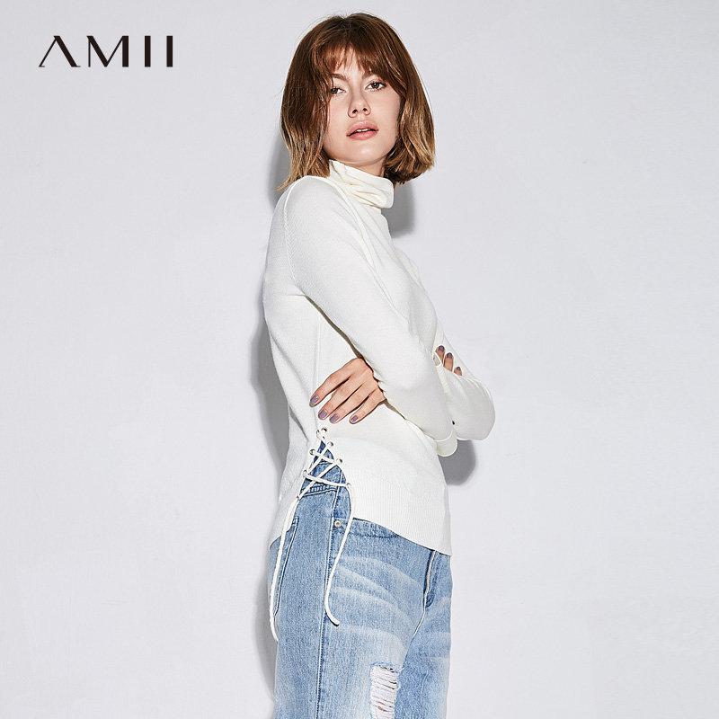 【当当19周年庆,满200减100上不封顶】Amii极简chic时尚纯色毛衣女2018秋新款绑带堆堆领套头显瘦打底衫.