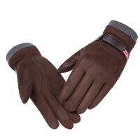 麂皮绒手套男士冬季保暖摩托车骑车加厚加绒防风防寒触屏骑行手套