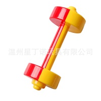 维莱 幼儿园玩具体操儿童健身塑料舞蹈摇铃游戏双色哑铃 红黄