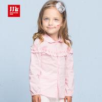 季季乐童装2017秋季新款女童长袖衬衣时尚休闲衬衫中小童打底衫上衣
