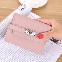 日韩方形软皮钱包女短款三折叠钱夹新款简约零钱包个性皮夹子