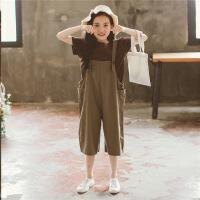 女童背带裤套装韩版中大童夏装2018新款时髦童装两件套时尚洋气潮