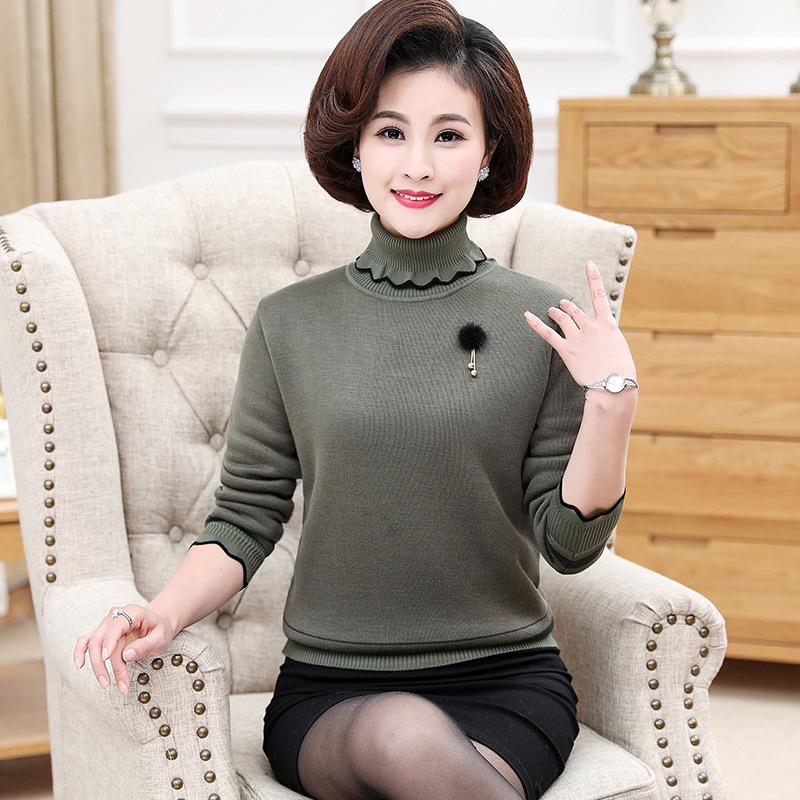 №【2019新款】送中年妈妈的冬装毛衣女打底衫中老年人气质上衣  XX