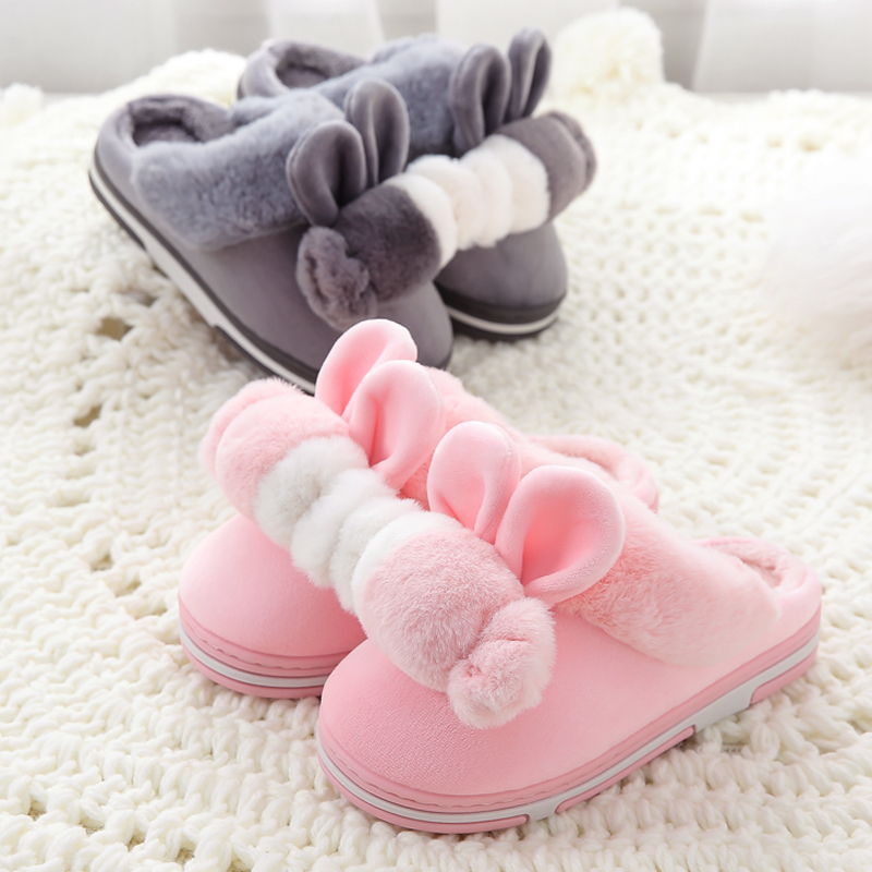 秋冬季儿童棉拖鞋保暖男女童卡通宝宝1-3岁毛毛棉鞋家居保暖拖