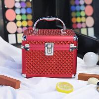 铝合金化妆包大容量带锁多层收纳箱便携旅行化妆盒大号手提化妆箱