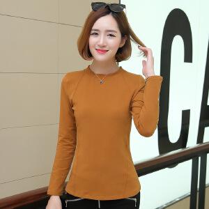 卡茗语春装韩版修身纯棉纯色百搭圆领长袖T恤女士打底衫显瘦上衣