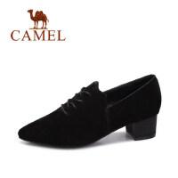 camel 骆驼女鞋 秋季新款 时尚粗跟尖头女单鞋优雅复古高跟鞋女