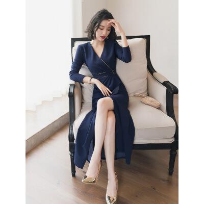 法国小众连衣裙女秋冬季新款法式复古裙内搭桔梗裙配大衣的长裙子 宝蓝色