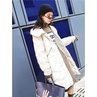 七格格米白色羽绒服女中长款2018新款韩版时尚宽松过膝冬季外套潮