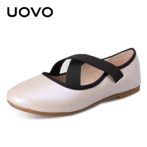 UOVO春秋新款女童皮鞋童鞋韩版儿童公主鞋女孩单鞋女童奶奶鞋 安赫尔