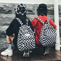 书包女韩版高中学生潮背包学院风格子双肩包