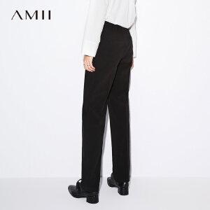 Amii极简原宿帅气bf风直筒裤女2018秋装新款高腰黑色休闲时尚长裤