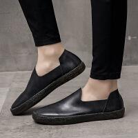 夏季潮鞋低帮潮韩版休闲皮鞋男士复古懒人鞋英伦透气一脚蹬男鞋夏季百搭鞋