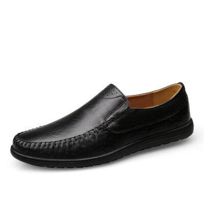 夏季镂空透气皮鞋男鞋中老年爸爸商务休闲真皮套脚懒人鞋洞洞凉皮鞋子