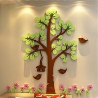 卡通花鸟大树亚克力3d立体墙贴儿童房幼儿园客厅卧室装饰墙贴