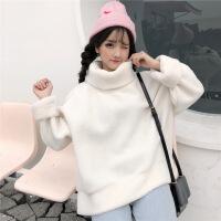 秋冬女装韩版宽松加厚毛绒卫衣高领保暖毛毛外套学生可爱套头上衣 均码