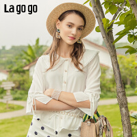 Lgogo/拉谷谷2019夏季新款蕾丝喇叭袖长袖衬衫女IACC335F21