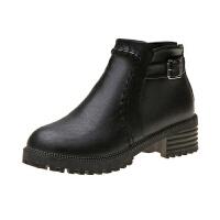 35-43码 大码女鞋秋冬厚底粗跟短靴时尚休闲中跟马丁靴踝靴子