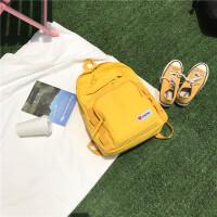 防水尼龙布双肩包女电脑包日系校园高中学生书包女闺蜜款旅行背包 黄色 礼物