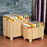 门扉 收纳凳 竹编收纳凳储物凳 欧式玄关换鞋凳 穿鞋凳 田园坐凳储物箱可坐人