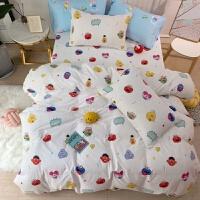 ins小清新冬季床上用品纯棉加绒水晶绒加厚1.8
