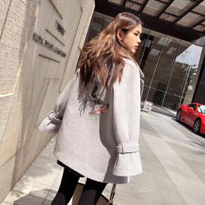 谜秀 毛呢外套女中长款2017冬装新款韩版宽松刺绣呢子大衣女装潮