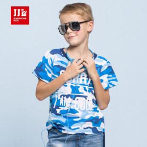 季季乐男童短袖T恤8夏季新款中大儿童12迷彩圆领套头16岁时尚上衣BXT61127