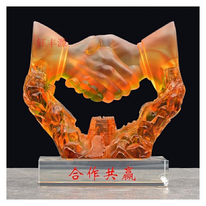 琉璃合作共赢公司开业周年上市纪念礼品家居办公室桌面文件柜摆件