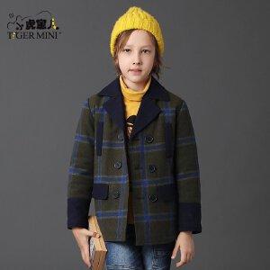男童呢子大衣 儿童夹棉加厚短外套韩版夹克冬装小虎宝儿童装中大