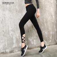 【到手价79】Kombucha瑜伽裤2018新款女士网纱拼接透气紧身弹力提臀长裤健身跑步打底长裤ZDK7103