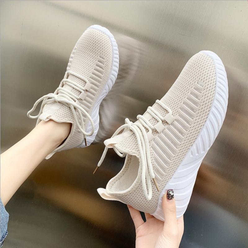 网鞋女休闲鞋夏天网面透气飞织鞋女休闲韩版百搭运动鞋女学生跑步袜子鞋女板鞋