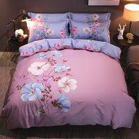【夏季新品】纯棉四件套全棉床单被套1.5米床笠三件套1.8m新中式双人床上用品4【】