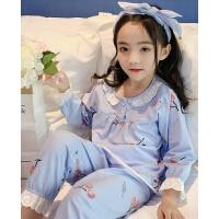 女童睡衣家居服秋装套装儿童中童女孩蕾丝边长袖空调服春秋季秋款