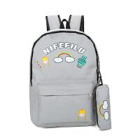 2018新款韩版小清新卡通印花帆布书包初中学生双肩包可爱女生校园旅行背包