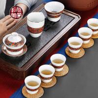 下午茶差具套装功夫泡茶的茶具家用客厅日式复古茶杯子6只装喝茶