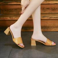 拖鞋女夏时尚外穿2019新款中跟百搭韩版粗跟高跟个性女士网红凉拖
