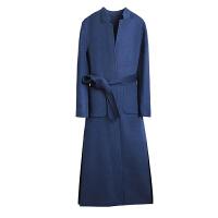 双面羊绒大衣女中长款2018新款手工立领高端过膝冬季风衣毛呢外套