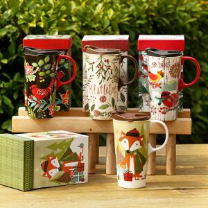 爱屋格林马克杯水杯可爱陶瓷杯礼盒装咖啡杯大容量杯子单手推盖