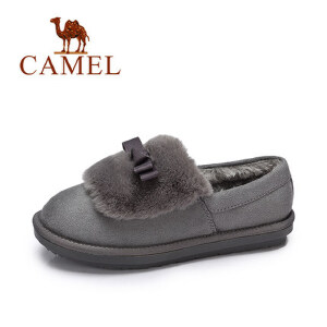 camel 骆驼女鞋  冬季新款 甜美舒适单鞋 保暖低帮棉鞋防滑毛毛鞋女