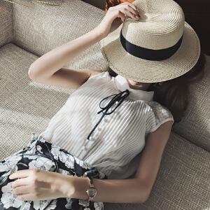 谜秀雪纺衬衫女2017夏装新款韩版修身百搭衬衣纯色夏季无袖上衣潮